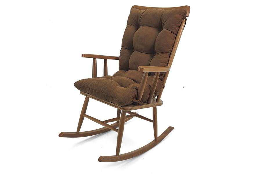 İŞBİR - Ahşap Sallanır Sandalye-Minderli