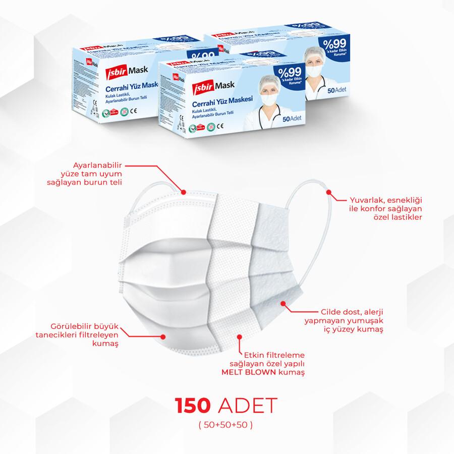 İşbir Cerrahi Yüz Maskesi -3'lü Paket/150 Adet Beyaz, Mavi, Siyah