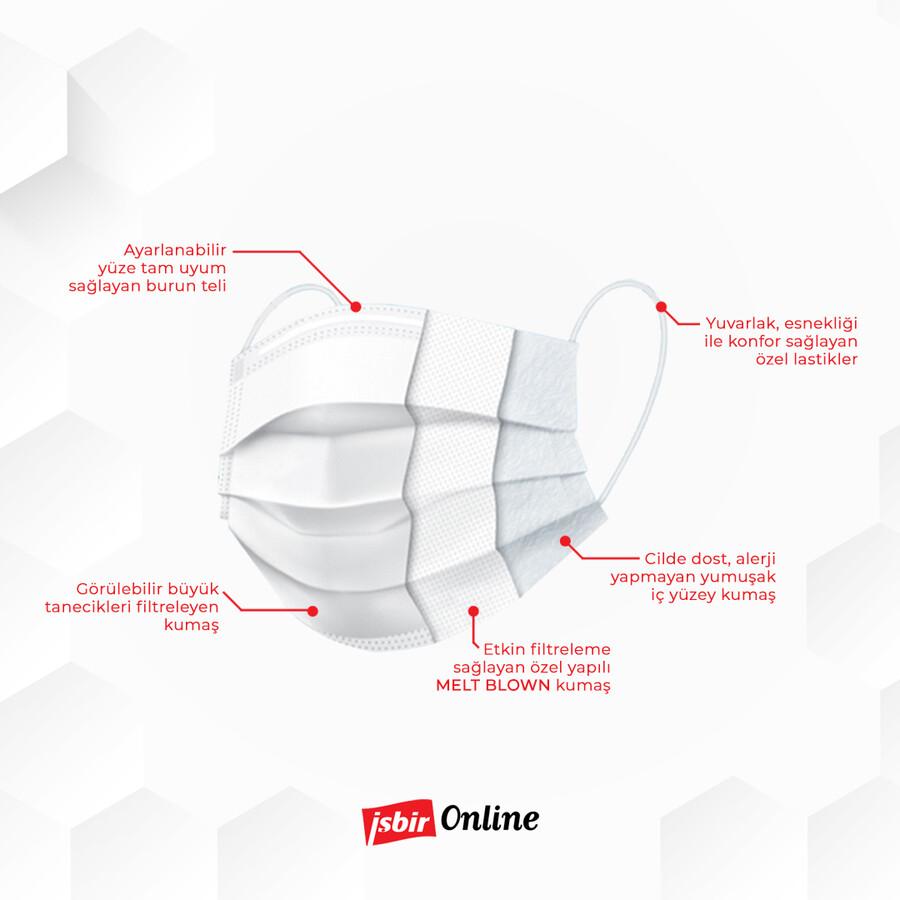 İşbir Cerrahi Yüz Maskesi ( Beyaz) - 3'lü Paket/150 Adet