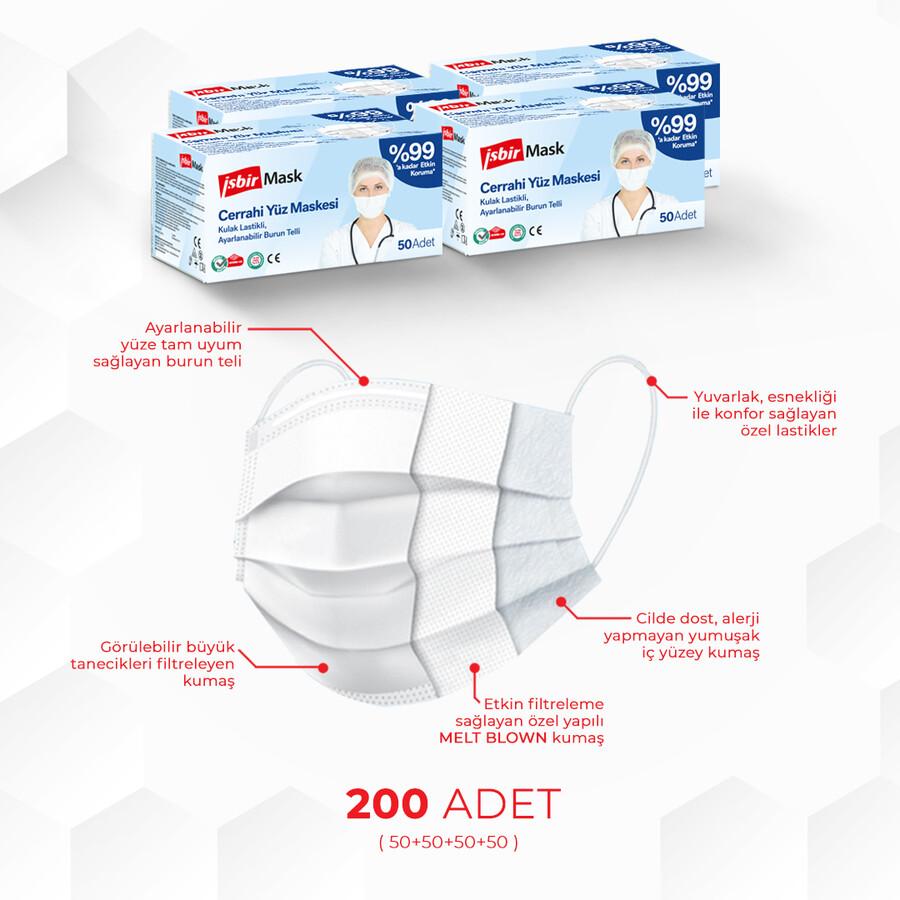 İşbir Cerrahi Yüz Maskesi ( Beyaz) - 4'lü Paket 200 Adet