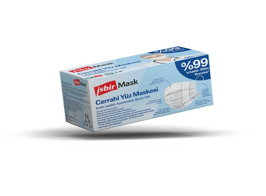 İşbir Cerrahi Yüz Maskesi- Beyaz 50 Adet