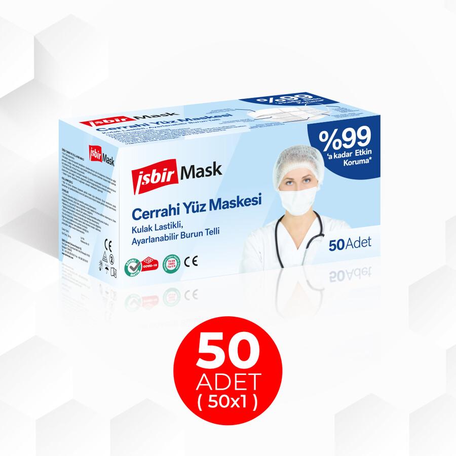 İŞBİR - İşbir Cerrahi Yüz Maskesi- Beyaz 50 Adet