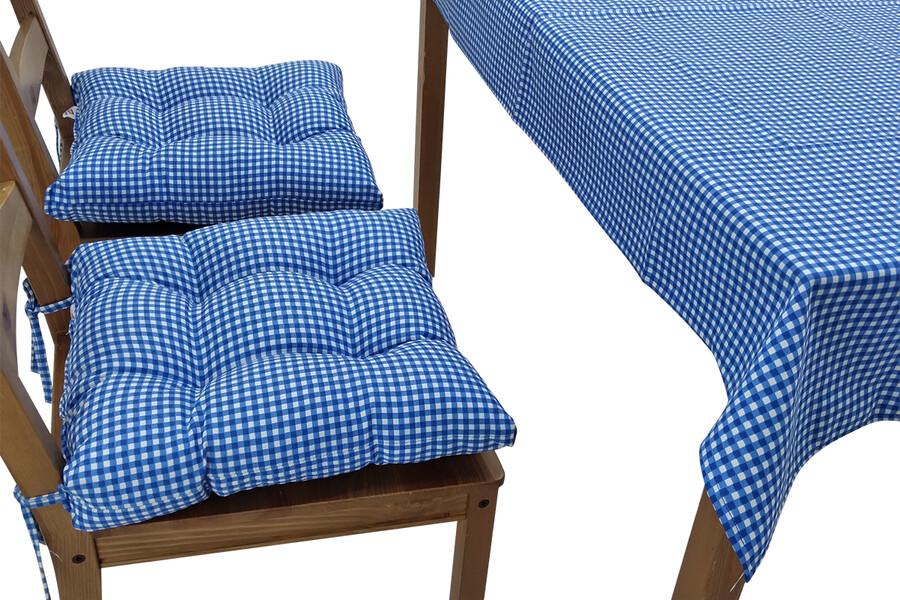 Puf Sandalye Minderi Ve Masa Örtüsü Seti Mavi