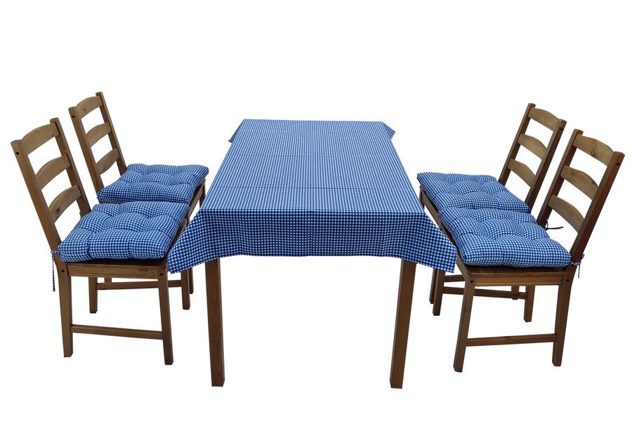 İŞBİR - Puf Sandalye Minderi Ve Masa Örtüsü Seti Mavi