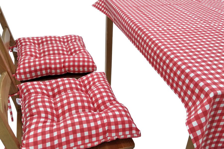 Puf Sandalye Minderi Ve Masa Örtüsü Seti Kırmızı