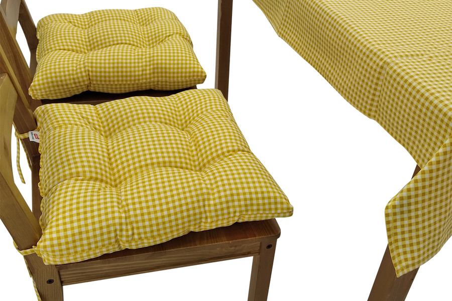 Puf Sandalye Minderi Ve Masa Örtüsü Seti Sarı