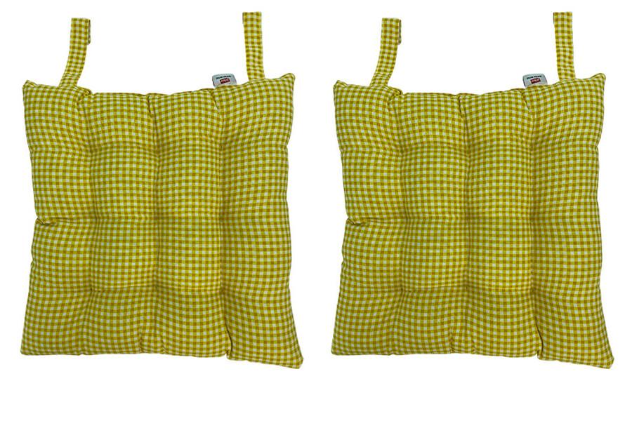 Rattan Sandalye Minderi Cırtlı Kare Desenli 2'li Paket