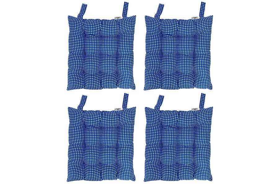 Rattan Sandalye Minderi Cırtlı Kare Desenli 4'lü Paket