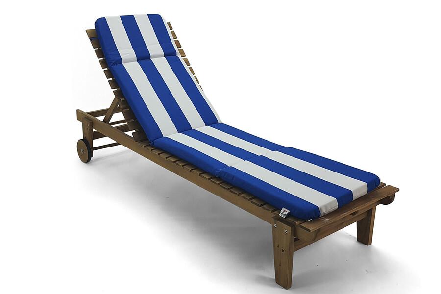 İŞBİR - Şezlong Minderi Mavi-Beyaz Çizgili, Taşınabilir, Imperteks Kumaş, 50x195x5 cm