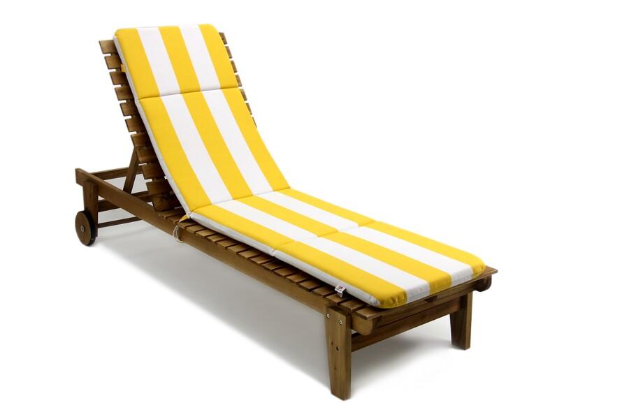 Şezlong Minderi Sarı-Beyaz Çizgili, Taşınabilir, Imperteks Kumaş, 50x195x5 cm