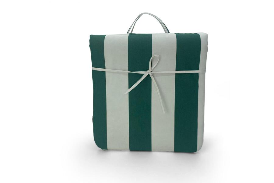 Şezlong Minderi Yeşil-Beyaz Çizgili, Taşınabilir, Imperteks Kumaş, 50x195x5 cm