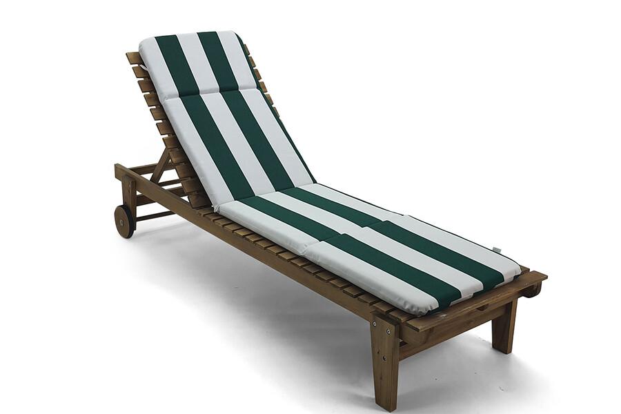 İŞBİR - Şezlong Minderi Yeşil-Beyaz Çizgili, Taşınabilir, Imperteks Kumaş, 50x195x5 cm